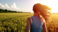 Beautiful Female Jogger Running Slow Motion Wheat Field video