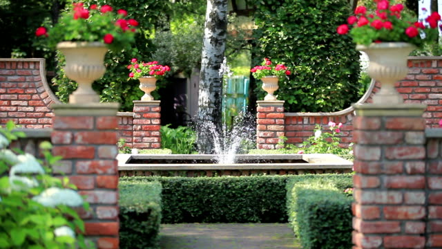beautiful garden with a fountain video