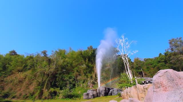 Beautiful geyser with real rainbow erupting video