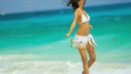 Beautiful Girl Achieving Dreams Tropical Beach video