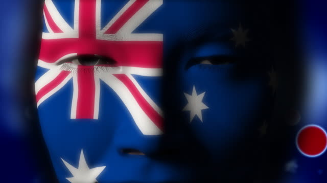 Beautiful girl Australia flag face painted video