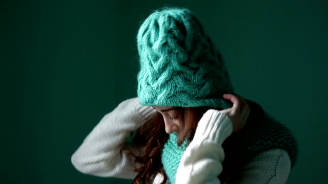 Beautiful girl dresses turquoise hat video