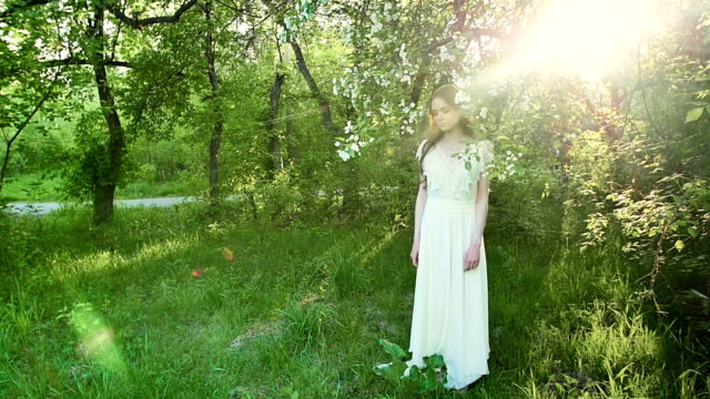 Beautiful girl in the flowered park at sunset . video