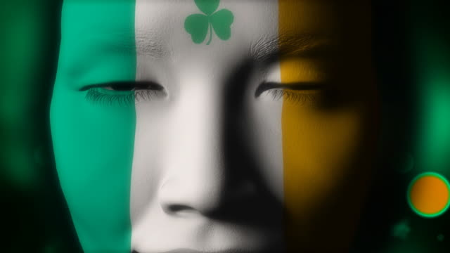 Beautiful girl IRELAND flag face painted video