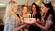 beautiful girl make a wish birthday cake video
