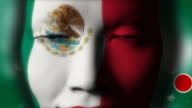 Beautiful girl MEXICO flag face painted video