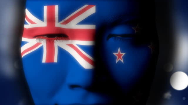 Beautiful girl New Zealand flag face painted video