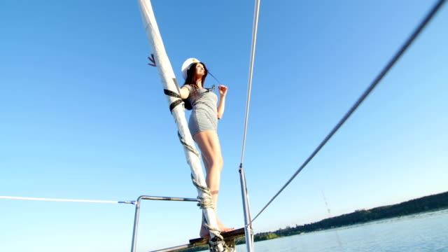 beautiful girl on a yacht captain - party and bachelorette party video
