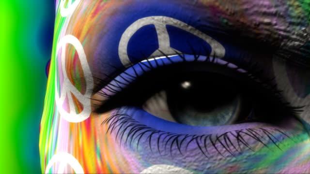 Beautiful girl PEACE symbol face painted video