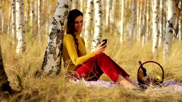 Beautiful Girl Picnic Forest Using Smart Phone video