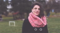 Beautiful girl portrait on windy day video