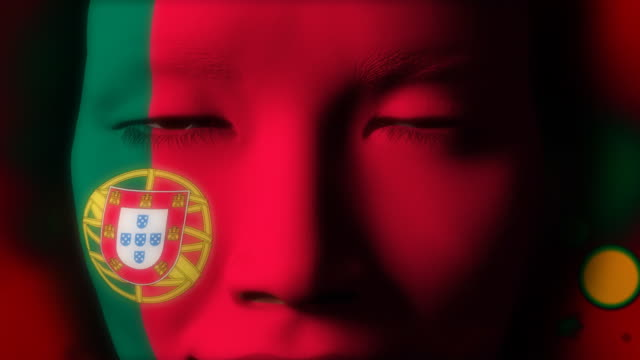 Beautiful girl Portugal flag face painted video