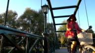 Beautiful girl riding a bike video