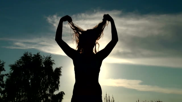 Beautiful girl shakes her hair video
