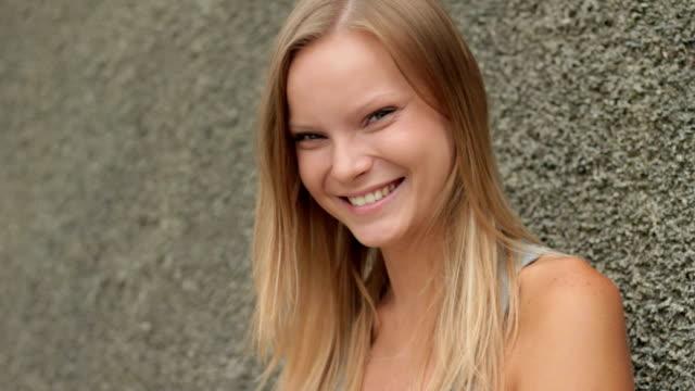 Beautiful girl smiling, laughing video