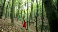 Beautiful Girl Walking In Forest video