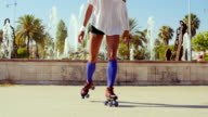 Beautiful Girl with Afro Haircut on Roller Skates video