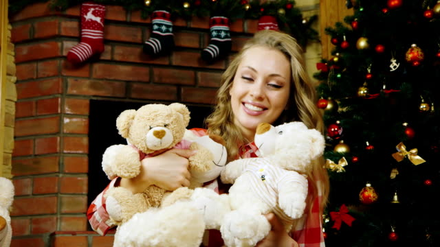 A beautiful girl with lots of teddy bears video