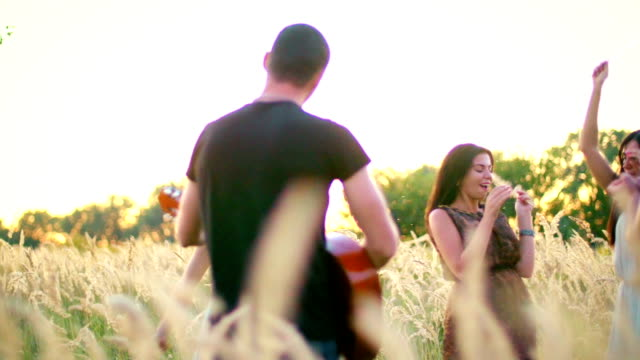 beautiful girls and boys walking in the field - spikes in the sunset video