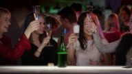 Beautiful girls glink their glasses at bar video