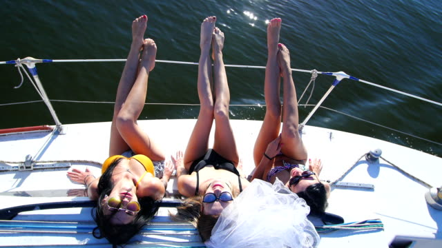 beautiful girls sunbathing on a yacht - party and bachelorette party video