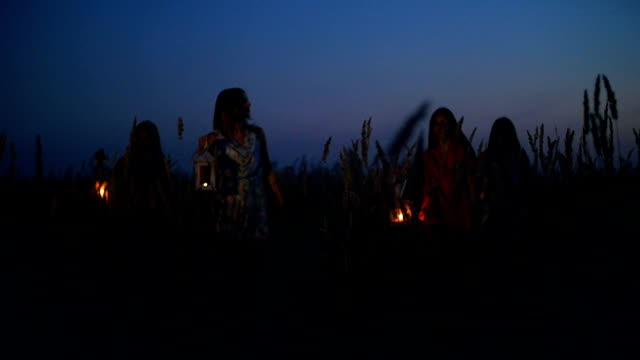 Beautiful girls walking in the field - in the hands holding candle lanterns video