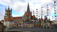 Beautiful Gothic cathedral in Lausanne old town, sightseeing tour to Switzerland video