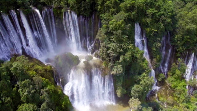 Beautiful Great Waterfall with Rainbow in Deep Forest video