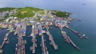 Beautiful Harbor with Jitty along Coast in Fisherman Village with Drone. video