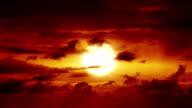 Beautiful HD sunset with big sun video