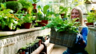 Beautiful holding wicker basket with fresh plant video