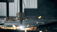 Beautiful Industrial laser plasma cutting angle processing manufacture technology of flat sheet metal steel material with sparks video