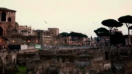 A beautiful inspiring evening landscape of ancient roman ruins in Rome, Italy video