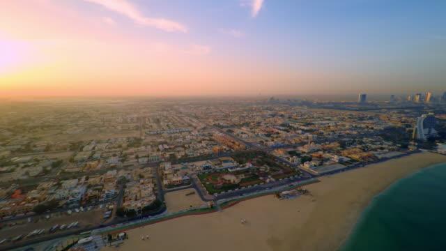 AERIAL Beautiful Jumeirah beach at sunset video