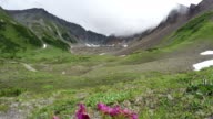Beautiful Kamchatka summer mountain landscape (time lapse) video