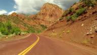 Beautiful Kolob Canyon mountains drive POV HD video