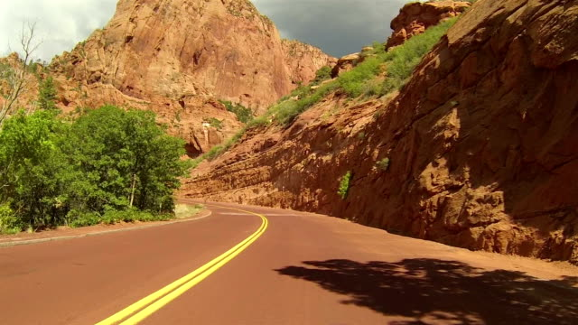 Beautiful Kolob Canyon red mountain drive POV HD video