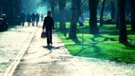 HD: Beautiful Lady Walking Back Home video