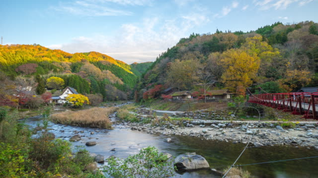 Beautiful landscape in autumn at Korankei, Japan video