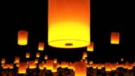 beautiful Lanterns flying in night sky video