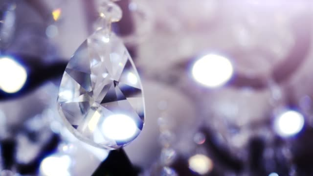 Beautiful large oval shape crystal of a chandelier. video