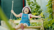 Beautiful little girl playing with swing video