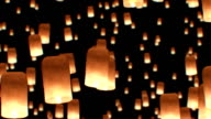 Beautiful Looped 3d animation of Floating Lanterns in Yee Peng Festival. Seamless. HD 1080. video