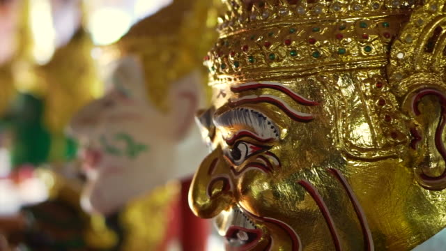 Beautiful majestic Khon masks, Thai classic traditional dance. Handmade head paint and gold wears video