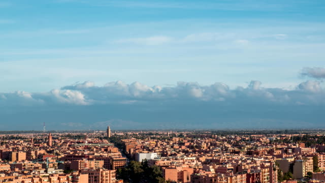 Beautiful Marrakesh timelapse aerial panoramic view at evening, Morocco video