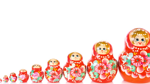 Beautiful Matryoshka dolls, hand painted art video