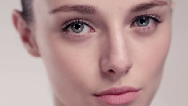 beautiful model face and eyes close-up video