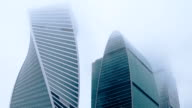 Beautiful Moscow City cloudy morning in the fog in the upper floors video