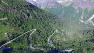Beautiful mountain road Gaularfjellet, aerial view video
