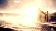 Beautiful Mountain Snow Sun Flare Man Worship Pose video